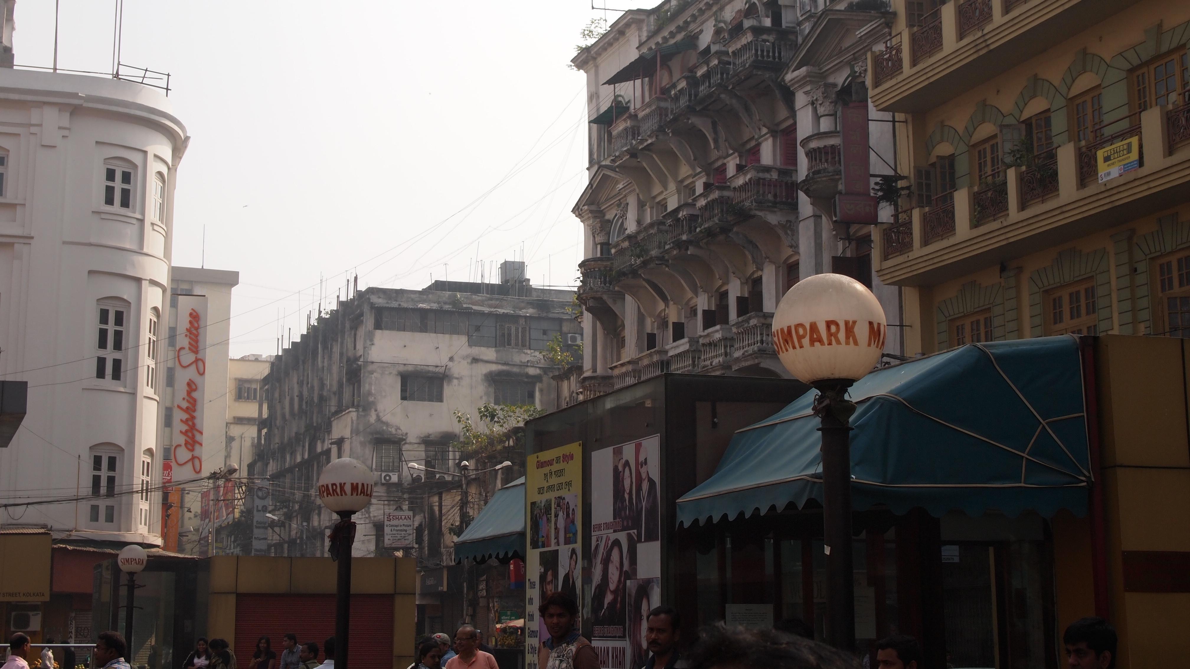 コルカタの繁華街。